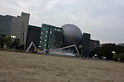 Photo shows the city science museum as it is seen from Shirakawa Park in Nagoya, Aichi Prefecture, Japan on 13 Oct. 2011. Photograph: Robert Gilhooly
