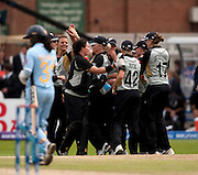 New Zealand celebrate winning the ICC Women's World Twenty20 Cup semi-final against India at Trent Bridge. Photo © Graham Morris (Tel: +44(0)20 8969 4192 Email: sales@cricketpix.com)
