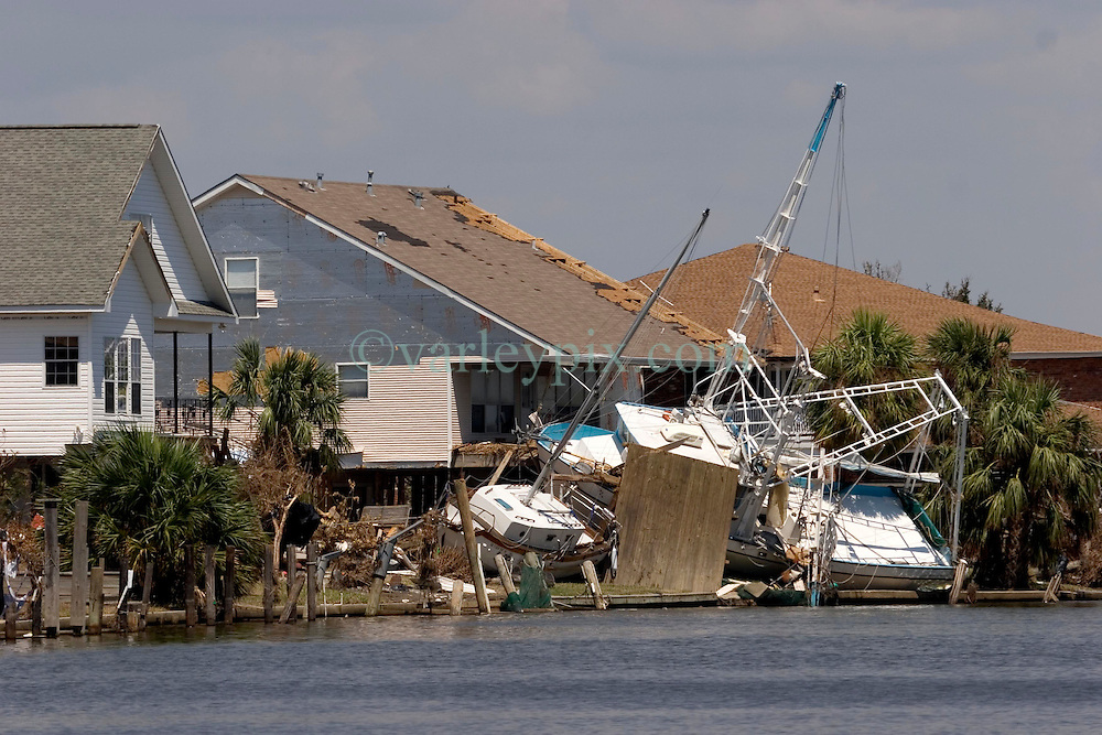 08 Sept 2005.  New Orleans, Louisiana. Hurricane Katrina aftermath. <br /> Venetian Isles in East New Orleans, where the tidal surge washed over the land and devastated homes and property.<br /> Photo; &copy;Charlie Varley/varleypix.com