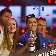 NLD/Hilversum/20140221 - Finale The Voice Kids 2014, Finalisten  Isabel Provoost en Ayoub Haach
