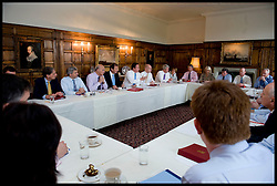 The Prime Minister David Cameron holds a cabinet meeting at Chequers, his country residence before his trip to Turkey and India, with Cabinet Secretary Sir Gus O'Donnell (Blue Tie Jacket on, next to the PM), Next to the PM) Friday July 23, 2010. Cabinet Secretary Sir Gus O'Donnell steps down at the end of the year and is replaced by Jeremy Heywood, currently Permanent Secretary at No. 10, will replace Gus O'Donnell as Cabinet Secretary. Photo By Andrew Parsons/ i-Images