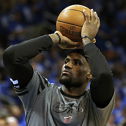 Jun 12, 2012; Oklahoma City, OK, USA;  Miami Heat small forward LeBron James warms-up prior to facing the Oklahoma City Thunder in game one in the 2012 NBA Finals at the Chesapeake Energy Arena.  Mandatory Credit: Derick E. Hingle-US PRESSWIRE