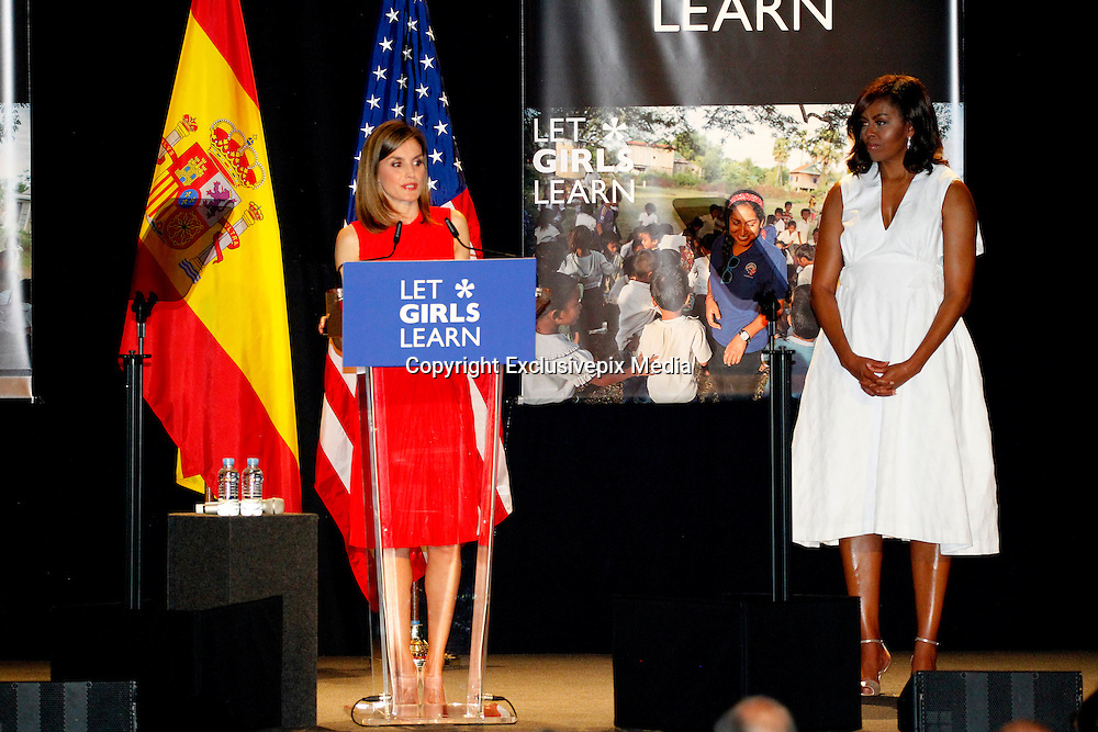 MADRID, SPAIN, 2016, JUNE 30 <br /> <br /> Queen Letizia, accompanied by His Excellency, the First Lady of the United States of America, in the act of Let Girls Learn initiative in the ship Matadero Madrid<br /> &copy;Exclusivepix Media
