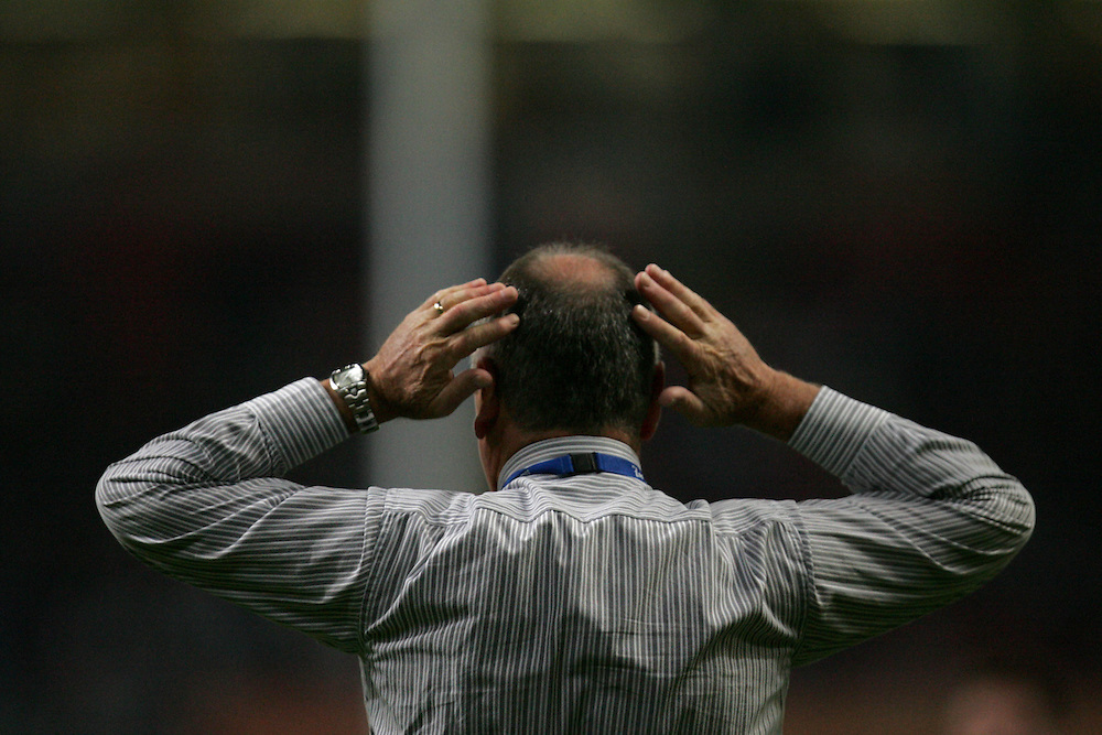 A dejected Graham Henry. France v New Zealand, Quarter Final 2, IRB Rugby World Cup 2007, Millenium Stadium, Cardiff, Wales, 6th October 2007.