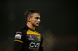 Wasps Winger (#11) Josh Bassett  looks on during the first half of the match - Photo mandatory by-line: Rogan Thomson/JMP - Tel: 07966 386802 - 17/10/2013 - SPORT - RUGBY UNION - Adams Park Stadium, High Wycombe - London Wasps v Bayonne - Amlin Challenge Cup Round 2.