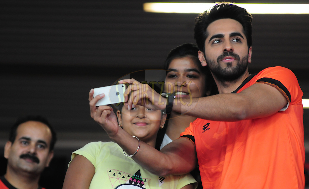 Actor Ayushmann Khurrana with fans during match 16 of the Hero Indian Super League between The Delhi Dynamos FC and NorthEast United FC held at the Jawaharlal Nehru Stadium, Delhi, India on the 29th October 2014.<br /> <br /> Photo by:  Arjun Panwar/ ISL/ SPORTZPICS