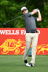 May 2, 2019 - Charlotte, NC, U.S. - CHARLOTTE, NC - MAY 02: Zach Johnson plays his shot from the 16th tee in round one of the Wells Fargo Championship on March 02, 2019 at Quail Hollow Club in Charlotte,NC. (Photo by Dannie Walls/Icon Sportswire) (Credit Image: © Dannie Walls/Icon SMI via ZUMA Press)