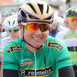 BORKUM (GER) wielrennen <br />De slotetappe van de Energiewachttour 2016 werd verreden op het Duitse Waddeneiland Borkum. Chantal Blaak mocht vertrekken in de groene sprinttrui