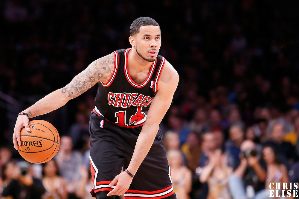 09 February 2014: Chicago Bulls point guard D.J. Augustin (14) eyes the clock during the Chicago Bulls 92-86 victory over the Los Angeles Lakers at the Staples Center, Los Angeles, California, USA.