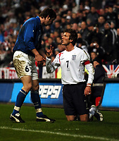 David Beckham England argues with IIlgar Abdurakhmanov Azerbaijan<br />
