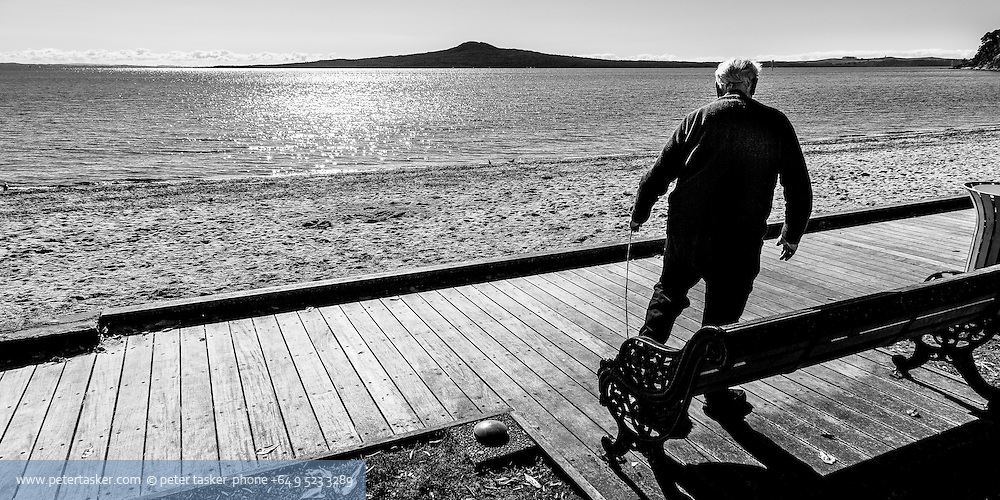 St Heliers Bay, Auckland. Mid winter 2012. Board walker.