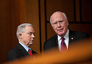 June 30, 2010 - Washington, District of Columbia, U.S., -  Senators Jeff Sessions and Patrick Leahy confer as Solicitor General Elena Kagan appears before the Senate Judiciary Committee for her third day of hearings on her nomination to be an associate justice of the Supreme Court.(Credit Image: © Pete Marovich/ZUMA Press)