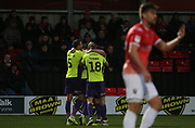 Exeter City's Ryan Bowman(12) celebrates his goal during the EFL Sky Bet League 2 match between Salford City and Exeter City at the Peninsula Stadium, Salford, United Kingdom on 14 December 2019.