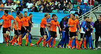Durban World Cup 2010  Holland v Japan  Match 25 19/06/10<br /> Wesley Sneijder   (NED) is congratulated by  teammates after first goal<br /> Photo Roger Parker Fotosports International