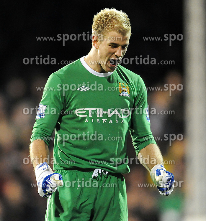 21.11.2010, Graven Cottage, London, ENG, PL, Fulham vs Manchester City, im Bild City's keeper Joe Hart celebrates his sides third goal  Fulham vs Manchester City  in the Barclays Premier League  at Craven Cottage stadium in London on 21/11/2010, EXPA Pictures © 2010, PhotoCredit: EXPA/ IPS/ R. Noyes *** ATTENTION *** UK AND FRANCE OUT!