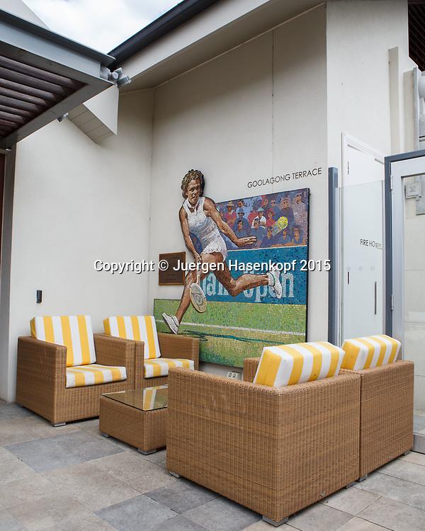 Kooyong Lawn Tennis Club existiert seit 1892 in Kooyong,<br /> Mosaik Bild von Evonne Goolagong auf der Goolagong Terrasse.<br /> <br /> tennis - Kooyong Lawn Tennis Club  -  -  Kooyong Lawn Tennis Club  - Melbourne - VIC - Australia  - 25 January 2015. <br /> &copy; Juergen Hasenkopf