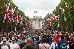© Licensed to London News Pictures. 08/06/2019. London, UK. Thousands of people line the Mall after Trooping the Colour, a ceremony to mark Queen Elizabeth II official birthday. Photo credit : Tom Nicholson/LNP