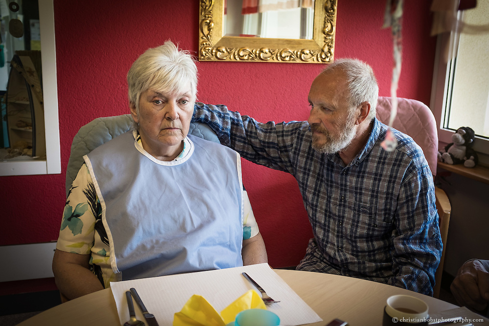 Victor and Hedwig at the canteen of the nursing home in Switzerland, where Hedwig now lives.