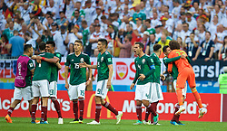 MOSCOW, RUSSIA - Sunday, June 17, 2018: Mexico players celebrates after beating Germany 1-0 during the FIFA World Cup Russia 2018 Group F match between Germany and Mexico at the Luzhniki Stadium. Jesus Gallardo, Hector Moreno, Raul Jimenez, Rafael Marquez, goalkeeper Guillermo Ochoa. (Pic by David Rawcliffe/Propaganda)