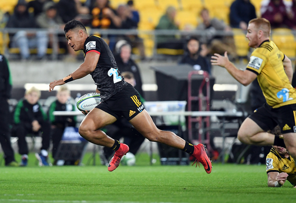 Chiefs Solomon Alaimalo against the Hurricanes in the Super Rugby match at Westpac Stadium, Napier, New Zealand, Friday, April 13, 2018. Credit:SNPA / Ross Setford