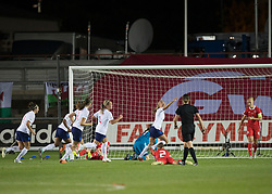 NEWPORT, WALES - Thursday, August 30, 2018: England's Toni Duggan celebrates scoring her teams first goal during the FIFA Women's World Cup 2019 Qualifying Round Group 1 match between Wales and England at Rodney Parade. (Pic by Laura Malkin/Propaganda)