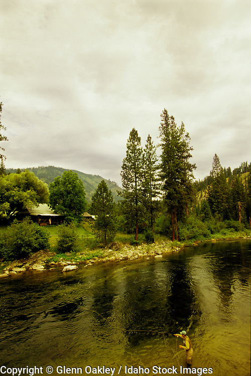 Fly fishing Selway River across from Selway Lodge, Idaho. MR