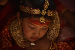 March 22, 2019 - Nala, NP, Nepal - A portrait of little girls from the Newar community arrives for the rituals of the first marriage Ehi celebration during the auspicious occasion of God of Rain, Seto Machhendranath Festival in Nala, Kavre, Nepal on Friday, March 22, 2019. (Credit Image: © Narayan Maharjan/NurPhoto via ZUMA Press)