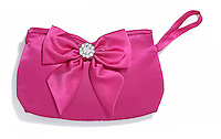 hot pink satin clutch with bow and rhinestones