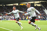 Derby County forward Martyn Waghorn (9) scores a goal and celebrates with Derby County midfielder Harry Wilson (7) 1-0 during the EFL Sky Bet Championship match between Derby County and West Bromwich Albion at the Pride Park, Derby, England on 5 May 2019.