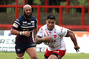 Hull Kingston Rovers winger Junior Vaivai (2) attacking during the Betfred Super League match between Hull Kingston Rovers and Leeds Rhinos at the Lightstream Stadium, Hull, United Kingdom on 29 April 2018. Picture by Mick Atkins.