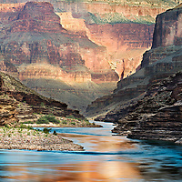 Sunrise image of Colorado River in Grand Canyon.