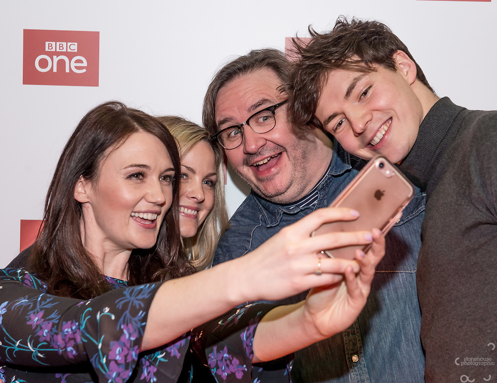 Midlands Today presenter Rebecca Wood takes a selfie with Jo Joyner, Mark Benton and Patrick Walshe McBride stars of the brand new BBC Daytime drama Shakespeare &amp; Hathaway &ndash; Private Investigators, is due to hit TV screens late February, 150 lucky people got the chance to view a private screening of the first episode.<br /> On Friday 9 February, The Other Place in Stratford-upon-Avon, an actual location featured in the drama, the venue to held the screening and, a special question and answer session hosted by Midlands Today presenter Rebecca Wood. She was joined by Jo Joyner, Mark Benton, Patrick Walshe McBride and the show&rsquo;s producer Ella Kelly.<br /> The ten-part drama from BBC Studios, created by Paul Matthew Thompson and Jude Tindall, will see Frank Hathaway (Benton), a hardboiled private investigator, and his rookie sidekick Luella Shakespeare (Joyner), form the unlikeliest of partnerships as they investigate the secrets of rural Warwickshire&rsquo;s residents.<br /> Beneath the picturesque charm lies a hotbed of mystery and intrigue: extramarital affairs, celebrity stalkers, missing police informants, care home saboteurs, rural rednecks and murderous magicians. They disagree on almost everything, yet somehow, together, they make a surprisingly effective team &ndash; although they would never admit it.<br /> Will Trotter, head of BBC Daytime Drama at the BBC Drama Village, comments, &ldquo;For years we have been producing quality drama at the BBC Drama Village, and Shakespeare &amp; Hathaway is no different. It&rsquo;s the perfect programme to indulge in, and like many of the programmes that we make in Birmingham, we&rsquo;ve been out and about in the county to film in some of the best locations the Midlands has to offer. <br /> &ldquo;We&rsquo;re looking forward to seeing the audience reactions to the first episode, it&rsquo;s got a whodunit storyline with a brilliant introduction to the main characters, but leaves you with some questions which 