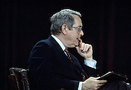 John Chancellor listens to an candidates answer  at the Democratic debate in Atlanta, Georgia, on March 11, 1984...Photograph by Dennis Brack bs b 17