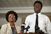 Karsiah Duncan, the son of Ebola patient Thomas Eric Duncan, speaks during a press conference at at Wilshire Baptist Church on October 7, 2014, in Dallas. (Cooper Neill for The New York Times)