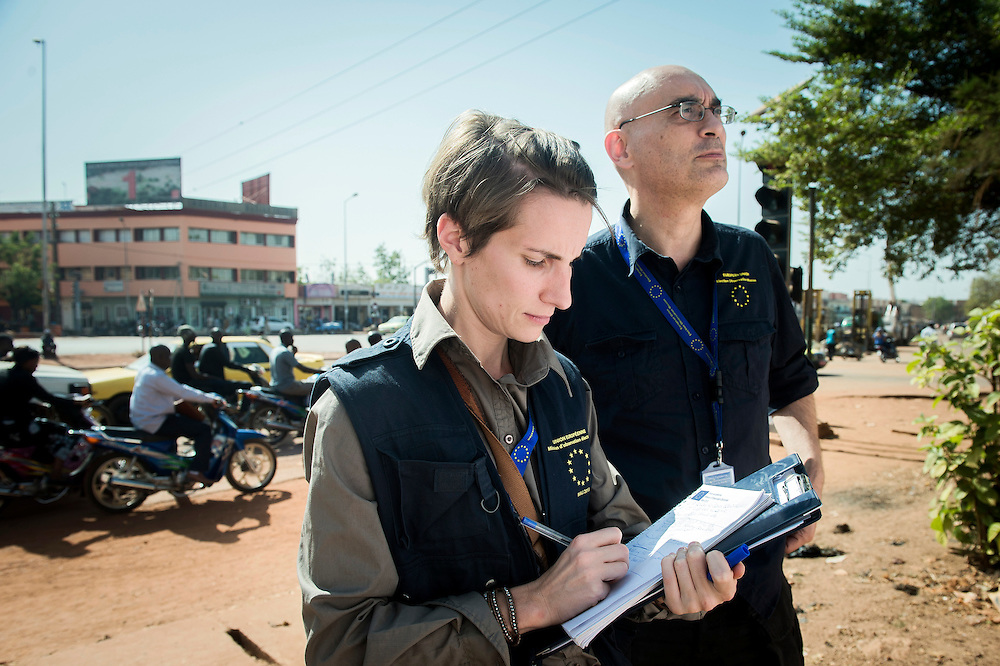 Bamako, Mali 11 December 2013<br /> European Union observers Julie Bouchat and Domenico Castellani monitor the preparation of the electoral material in the city hall of municipality VI.<br /> At the request of the Malian authorities, the European Union had deployed an election observation mission for the legislative elections scheduled for 15th December 2013 in Mali.<br /> Photo: EU EOM Mali / Ezequiel Scagnetti