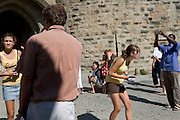 people snapping pictures at a tourist destination in South France