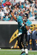 JACKSONVILLE, FL - DECEMBER 12:  Quarterback Byron Leftwich #7 of the Jacksonville Jaguars completed 25 of 45 passes for 242 yards and 2 touchdowns against the Chicago Bears on December 12, 2004 at Alltel Stadium in Jacksonville, Florida. The Jags defeated the Bears 22-3. ©Paul Anthony Spinelli *** Local Caption *** Byron Leftwich