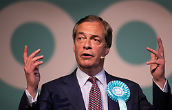 © Licensed to London News Pictures. 21/05/2019. London, UK. Brexit Party Leader Nigel Farage holds a European Election rally at Olympia in London. Voters are due to go to the polls in two days. Photo credit: Peter Macdiarmid/LNP