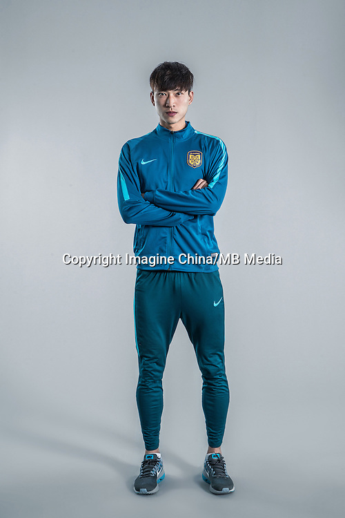 Portrait of Chinese soccer player Huang Jiajun of Jiangsu Suning F.C. for the 2017 Chinese Football Association Super League, in Nanjing city, east China's Jiangsu province, 27 February 2017.
