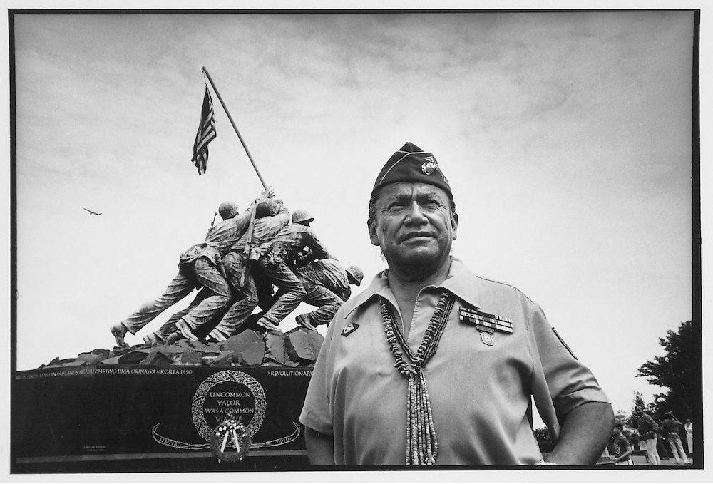 "Kenji Kawano.Photograph by Ruth Kawano..Photo by Kenji Kawano.Navajo Code Talker William Dean Wilson in front of the U.S. Marine Corps Monument, Washington, D.C., 1983.From the exhibition ""Warriors: Navajo Code Talkers on view at the Kennedy Museum of Art"", Sept. 3- Nov. 24, 2002"
