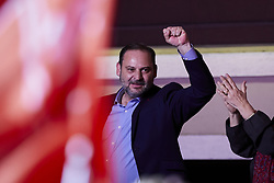 April 28, 2019 - Madrid, Madrid, Spain - Spanish Prime Minister Pedro and Socialist Party (PSOE) candidate for prime minister Pedro Sanchez delivers a speech with other PSOE leaders like Jose Luis Abalos (L) during an election night rally in Madrid after Spain held general elections. - Spain's socialist prime minister won snap elections on Sunday but without the necessary majority to govern in a fragmented political landscape marked by the far-right's dramatic eruption in parliament. April 28, 2019. (Credit Image: © A. Ware/NurPhoto via ZUMA Press)