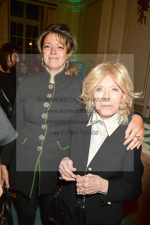 Left to right, PETRONELLA WYATT and her mother LADY WYATT at a party to celebrate the publication of The Romanovs 1613-1918 by Simon Sebag-Montefiore held at The Mandarin Oriental, 66 Knightsbridge, London on 2nd February 2016.