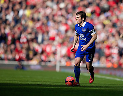 LONDON, ENGLAND - Saturday, March 8, 2014: Everton's Leighton Baines in action against Arsenal during the FA Cup Quarter-Final match at the Emirates Stadium. (Pic by David Rawcliffe/Propaganda)