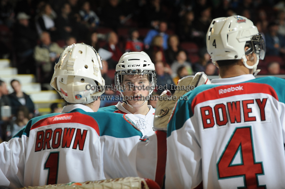 KELOWNA, CANADA, FEBRUARY 15: Damon Severson #7 of the Kelowna Rockets speaks with teammates during a time out at the Kelowna Rockets on February 15, 2012 at Prospera Place in Kelowna, British Columbia, Canada (Photo by Marissa Baecker/Shoot the Breeze) *** Local Caption ***