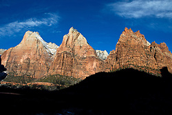 Court of the Patriarchs rock formations in the morning Zion National Park, Utah, United States of America