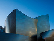 The Walt Disney Concert Hall in Los Angeles, California, at sunset.