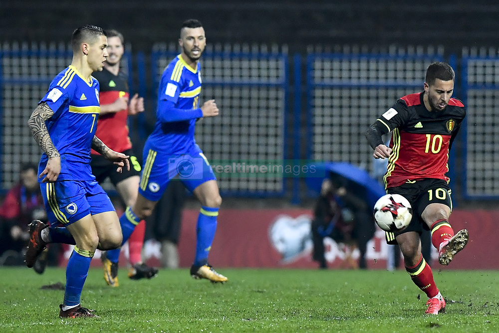 October 7, 2017 - Sarajevo, BOSNIA AND HERZEGOVINA - Belgium's Eden Hazard pictured during a soccer game between Bosnia and Herzegovina and Belgian national team Red Devils, in Sarajevo, Bosnia and Herzegovina, Saturday 07 October 2017, game 9 in Group H of the qualifications for the 2018 World Cup. BELGA PHOTO DIRK WAEM (Credit Image: © Dirk Waem/Belga via ZUMA Press)