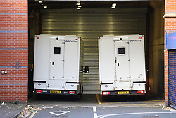 © Licensed to London News Pictures. 02/11/2017. Leeds, UK. Prison van arrives at Leeds magistrates court this morning as Two teenagers arrested in Northallerton by counter-terrorism police at the weekend are due to appear at Leeds magistrates court this morning after being charged with conspiracy to murder. The pair both 14 years old were arrested at their homes on Saturday & have been remanded in custody. Photo credit: Andrew McCaren/LNP