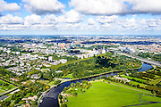 Nederland, Noord-Holland, Amsterdam, 27-09-2015; Buitenveldert en Zuid-as gezien vanaf de Amstelmet aan de rivier het  Amstelpark. <br /> Buitenveldert neighborhood in the South of Amsterdam.<br /> luchtfoto (toeslag op standard tarieven);<br /> aerial photo (additional fee required);<br /> copyright foto/photo Siebe Swart