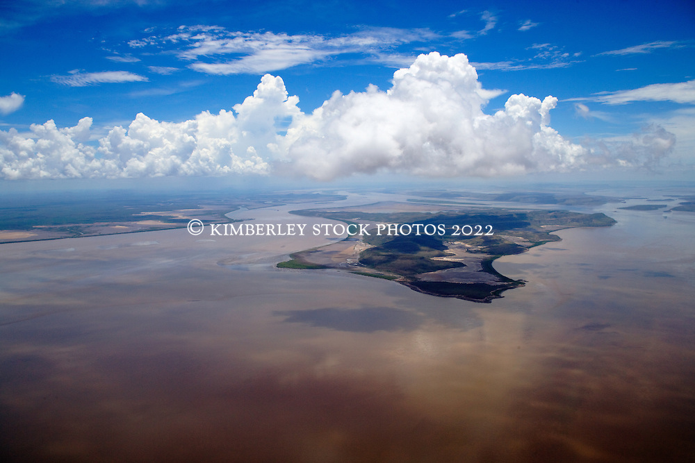 Cloudy reflections in the muddy waters of Cambridge Gulf  on the east Kimberley coast.